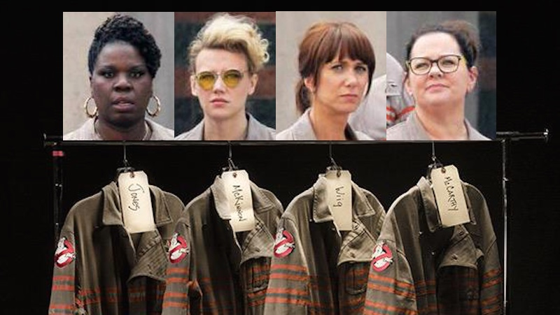 Fans leak first picture of 'Ghostbusters' cast in uniform.