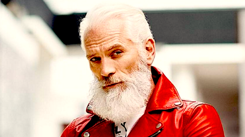 "Everyone loves this super-handsome ""Fashion Santa"" at the mall."