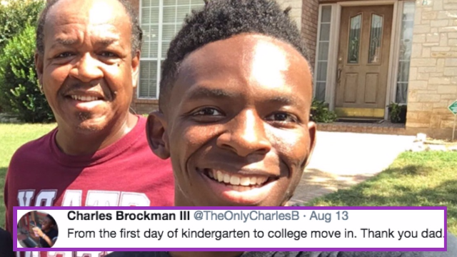 Son posts sweet picture of dad walking him to school through the years. Twitter is bawling.