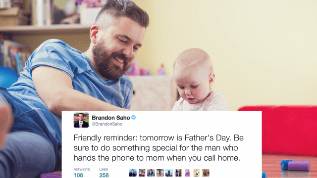 21 funny tweets about Fathers' Day for you to read to your dad as he mans the grill.