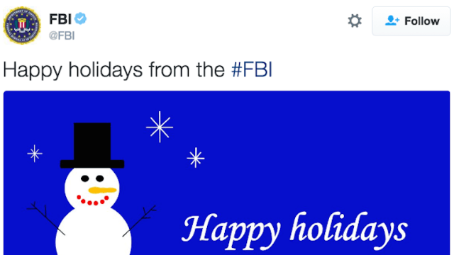 Everyone is roasting the FBI's hilariously amateur holiday greeting card.