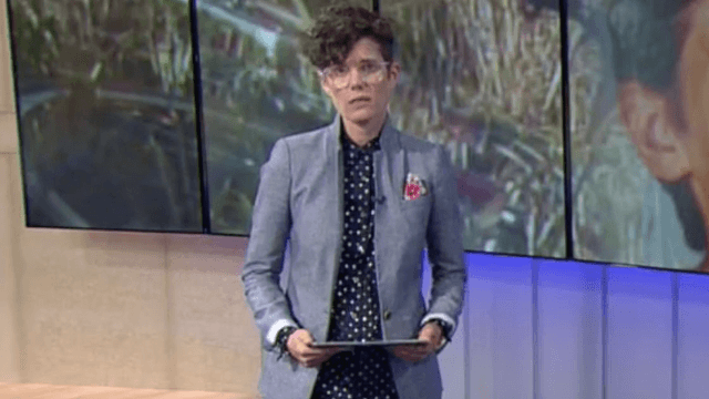 A female news anchor is being criticized for wearing 'disrespectful' pants on air.