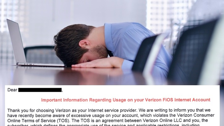 A man paying $315/month for unlimited data receives threatening letter from Verizon over data.