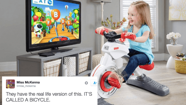 Fisher-Price made an exercise bike for toddlers and Twitter has opinions.