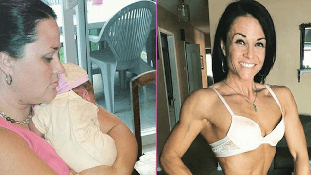 Bodybuilding mom shares lingerie photo and story about her 20-year struggle with food addiction.