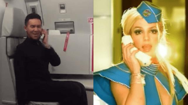 Flight attendant brilliantly recreates Britney Spears' 'Toxic' music video.