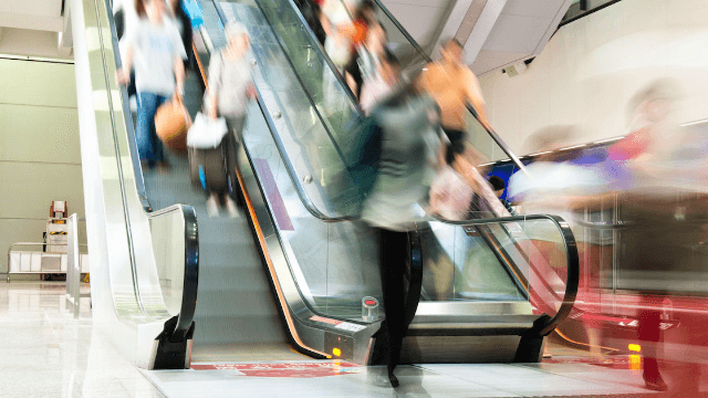 An escalator full of hockey fans went haywire and it was even rougher than a hockey game.