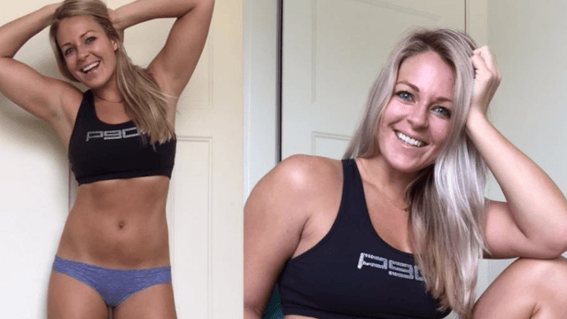 Fitness blogger shares side-by-side 'same girl, different angles' photos to promote body positivity.