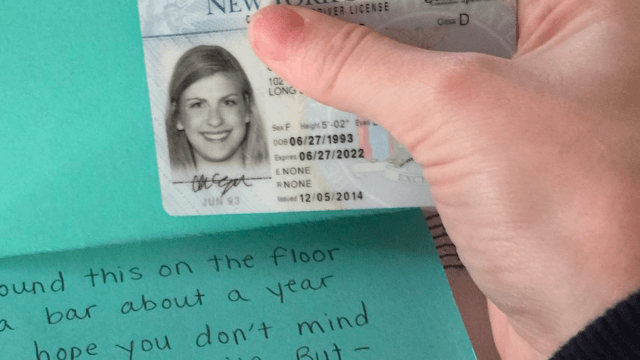 This girl waited a year before returning a lost ID card, but she had the best excuse.