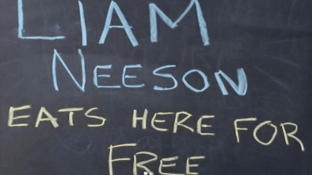 Shop offers free food but only for Liam Neeson. It works.