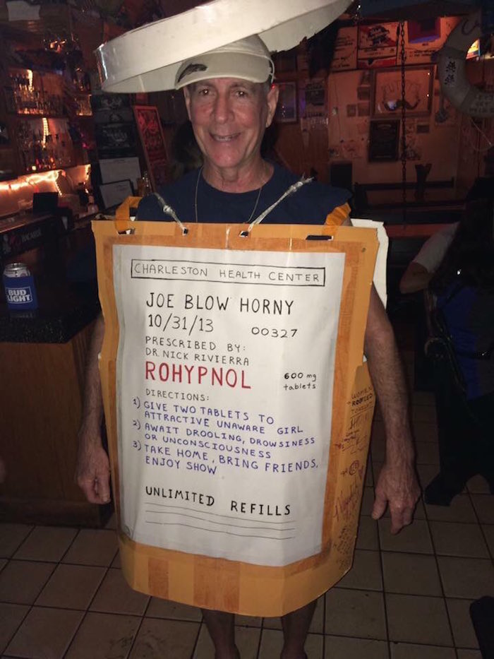 This guy thought it would be funny to dress as a bottle of roofies for Halloween.