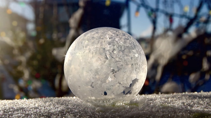 Watch this bubble freeze and remember that winter isn't just about the sun going down at 5 p.m.