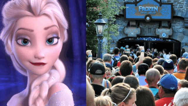There's a five-hour wait to ride the five-minute 'Frozen' ride at Disney World.