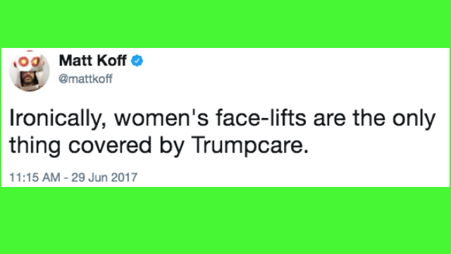 These 'bleeding face-lift' tweets are as funny as Trump is nasty.