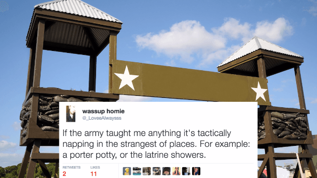 16 funny tweets from troops about (the less exciting parts of) military life for Memorial Day.