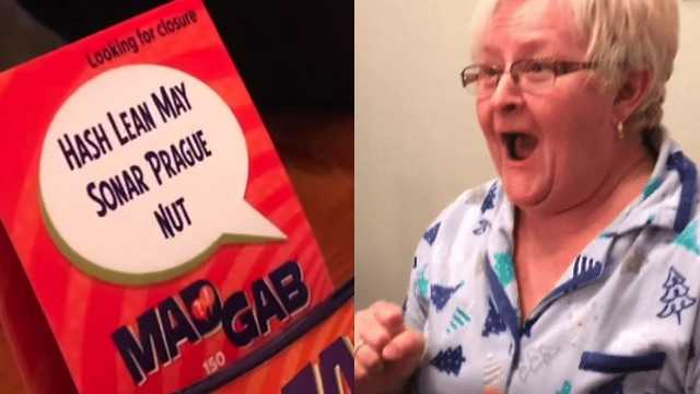 Grandmother-to-be freaks out over clever but complicated pregnancy announcement.