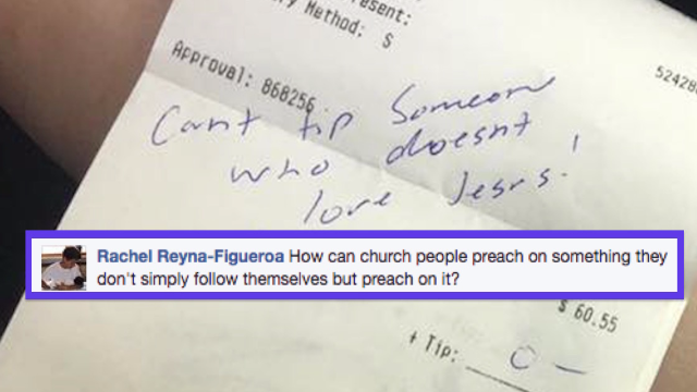 Gay server denied tip for not 'loving Jesus.' She has the perfect comeback.