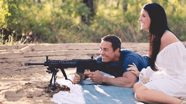 This couple shot a rifle at colorful explosives for their gender reveal, because America.