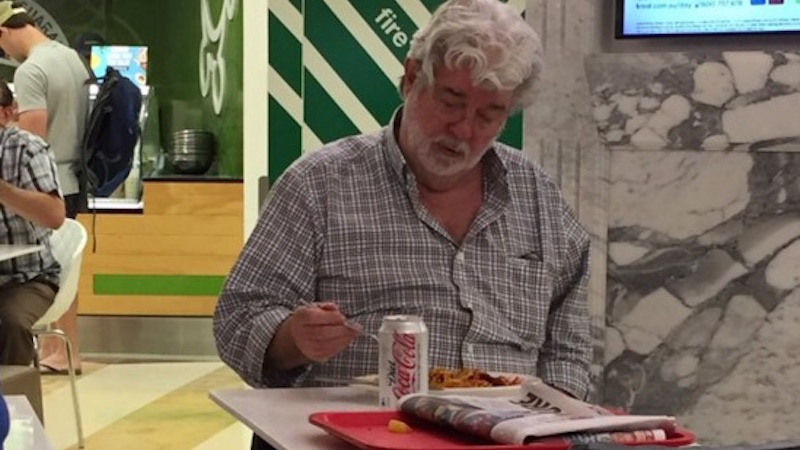 George Lucas was caught eating noodles alone in a food court, because in the end we are all alone.