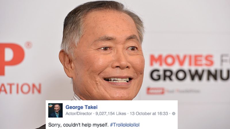 "George Takei ""trollololololed"" an actual Internet troll, and it's very funny."