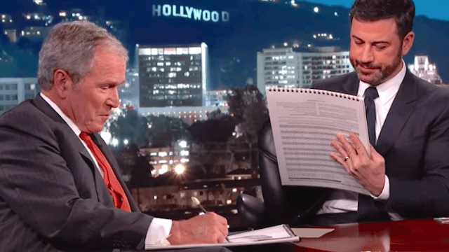 George W. Bush and Jimmy Kimmel sketched each other and it was strangely romantic.