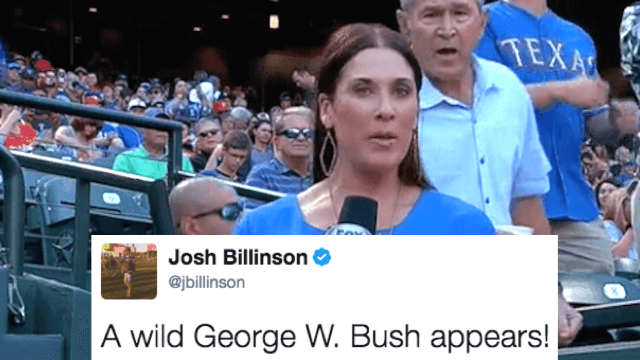 George W. Bush hilariously photobombed a live sports broadcast because he's your goofy uncle now.