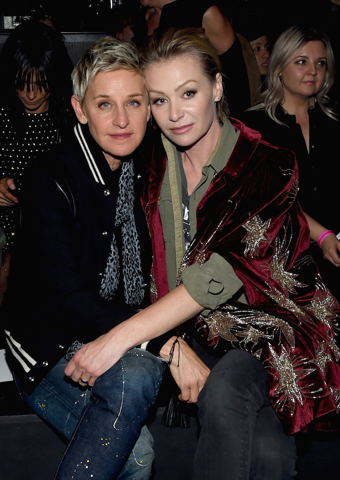 Ellen, beard-free and happy with her wifey.