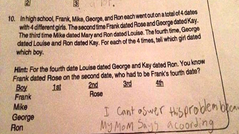 Fourth grader refuses to answer math question because it would violate 'girl code.'