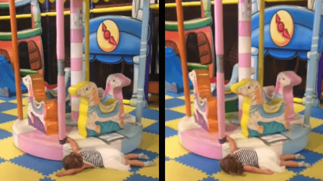 Little girl's unique way of riding a merry-go-round is all of us.