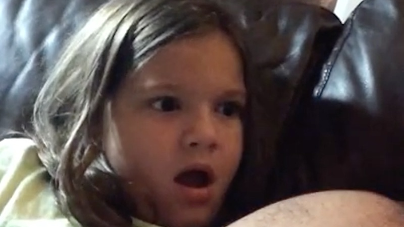 Little girl makes every shocked face that's ever existed when she finds out who Darth Vader is.