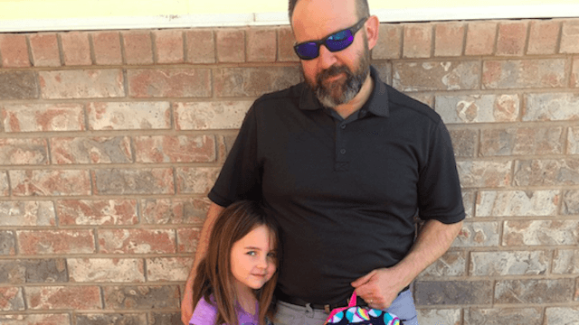 Girl has a little accident at school, but dad goes above and beyond to save her from embarrassment.