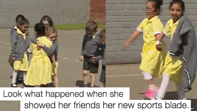 Little girl's classmates react to her new prosthetic 'sports blade' and Twitter is in tears.