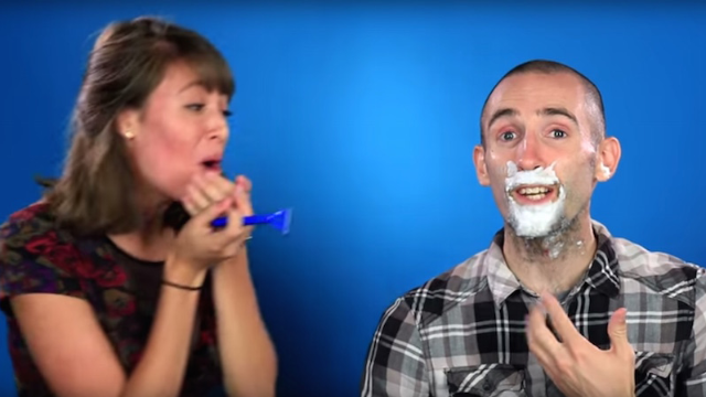 Girls shave their boyfriends' faces and prove they have the most trusting relationships ever.