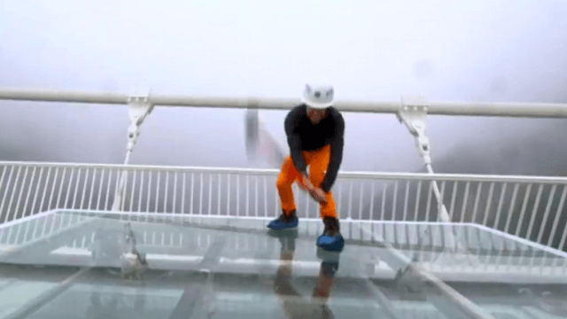 China invited a reporter to hit their new glass bridge with a sledgehammer to prove it's safe. He proved something.