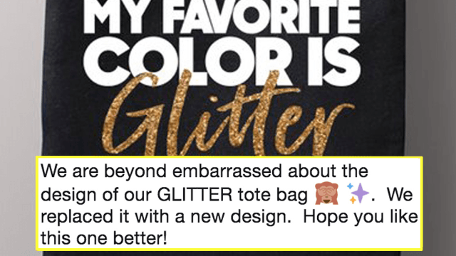 Fashion company apologizes for the massive design flaw in their 'glitter' tote bags.