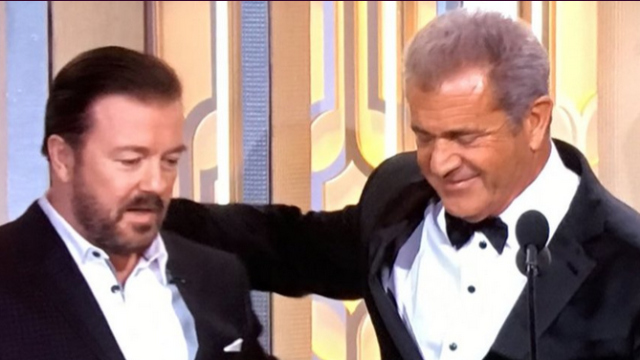 Things got awkward and bleeped between Mel Gibson and Ricky Gervais at the Golden Globes.