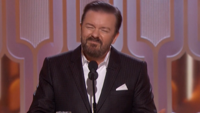 Ricky Gervais fulfills his promise to insult all the celebrities in his Golden Globes monologue.
