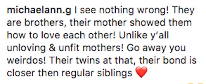 Mom shamed for Instagram posts showing her twin toddler boys kissing.