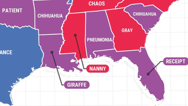 Google's map of the most misspelled word in each state is embarrassing for everyone. Even Google.