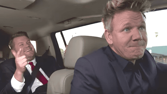Gordon Ramsay struggles with the ultimate annoying backseat driver: James Corden.