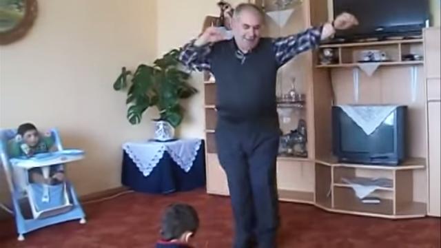 Grandfather gives amazing dance performance for ungrateful audience of little kids.