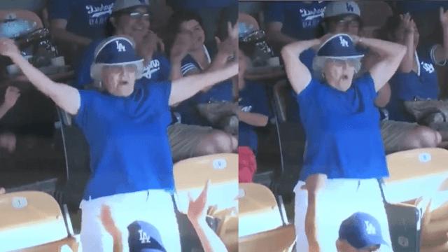 Grandma ends her dance on the Jumbotron by flashing the whole baseball stadium.