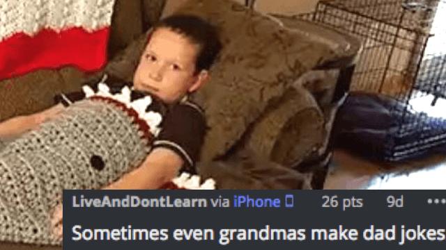 Grandma accidentally crochets her grandson a hilariously NSFW 'shark blanket.'