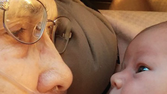 A 92-year-old woman met her newborn great-granddaughter, and their sweet photo is going viral.