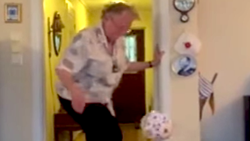 No one has more energy than this 90-year-old great-grandmother with a soccer ball.