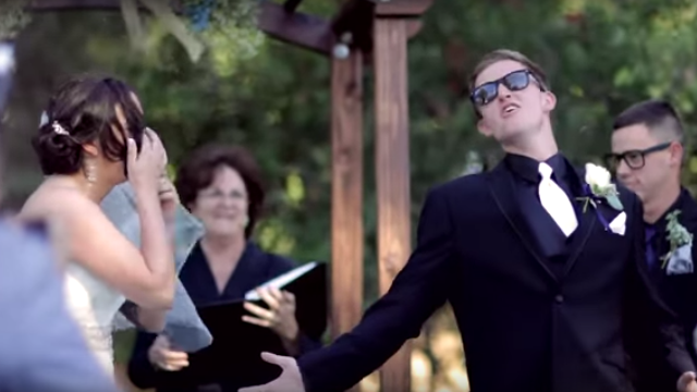 A groom lip-synced his vows to express his unwavering commitment to going viral.