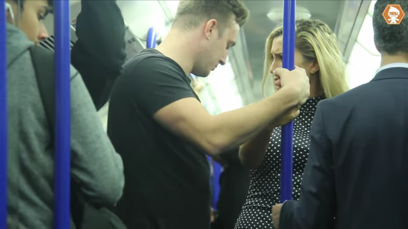 This hidden camera social experiment about groping on the subway got heated real quick.
