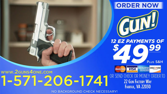 This infomercial for guns is as funny as it is scary.