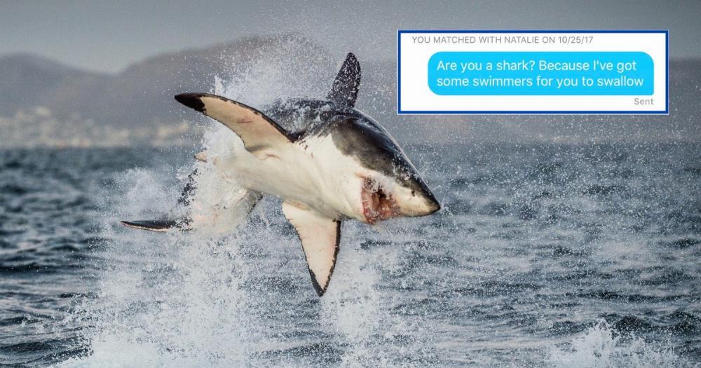 Guy on Tinder uses gross shark pickup line. Gets