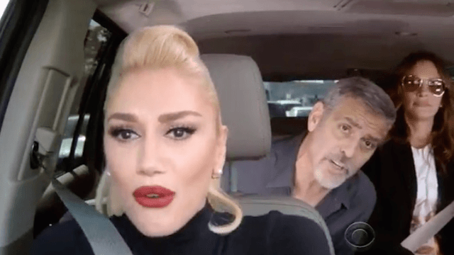 Gwen Stefani did Carpool Karaoke with George Clooney and Julia Roberts buckled up in back.